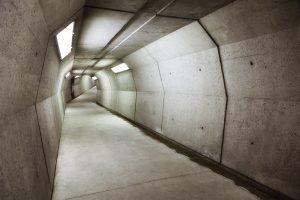 Modern underground concrete tunnel