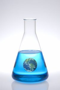 World in erlenmeyer flask. Cooling the world after global warming.