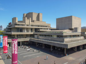 London, UK - May 6, 2010: The Royal National Theatre iconic masterpiece of the New Brutalism designed by architect Sir Denys Lasdun