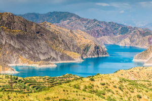 Beautiful view of Nurek Reservoir in Tajikistan